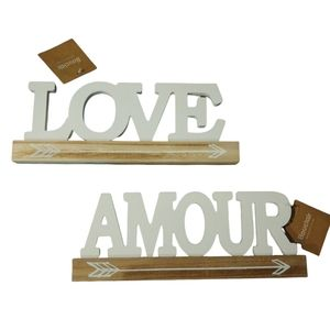 NWT Bouclair Set of 2 Wood Word Cutouts Love/Amour